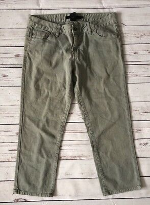 Calvin Klein Jeans Gray Green Slim Crop Capris Cropped Pants Size 12 Studded