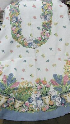 """""""""""Easter - Flowers And Bunnies - Oval Tablecloth"""""""" - Blue Border"""
