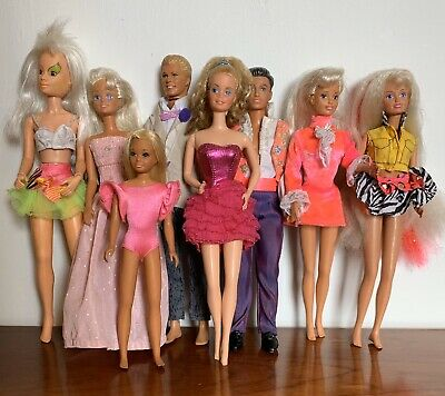 Job Lot 8 Vintage Fashion Dolls Jem Sindy Barbie Skipper Ken Paul