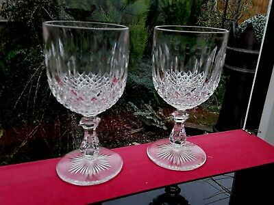 A Pair Of Vintage Crystal Wine Glasses Goblets Fabulous High Quality Gin Glass