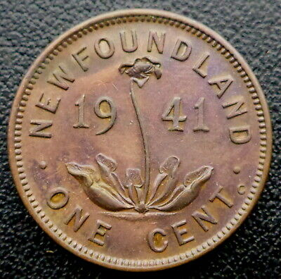 Newfoundland 1941 Cent Higher Grade Copper 78 Years Old! Canada Ship $1.99 Us