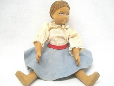 Vintage Jointed Hand Carved Wooden Doll, Switzerland no tag, Comolli-Lugano face
