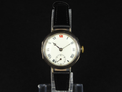 Antique Rolex Officers Trench Watch Sterling Silver Gents 925 Fh8