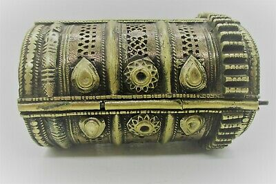 Beautiful Late Medieval Islamic Decorated Silvered Bangle Bracelet
