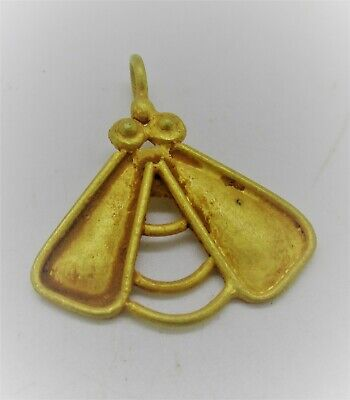 Circa 200 - 300 Ad Ancient Roman High Carat Gold Cicada Fly Amulet Wearable
