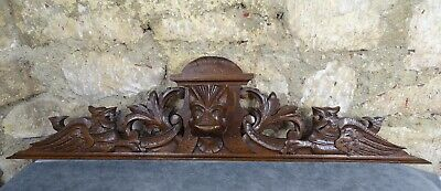 "36""  Antique French Hand Carved Wood Oak Pediment - Chimeras"