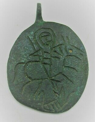 Ancient Byzantine Bronze Pendant With Saint Depiction