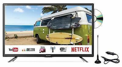 "Sharp 24"" 12V Smart LED TV DVD Caravan Truck Full 1080p Satellite Saorview PVR"