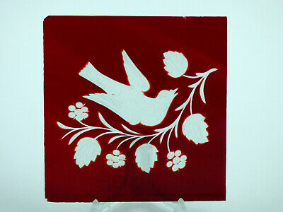Red glass pane cut & etched bird flowers window door Edwardian Victorian stained