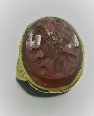 Beautiful Late Medieval Gold Gilded Ottomans Seal Ring With Carnelian Intaglio