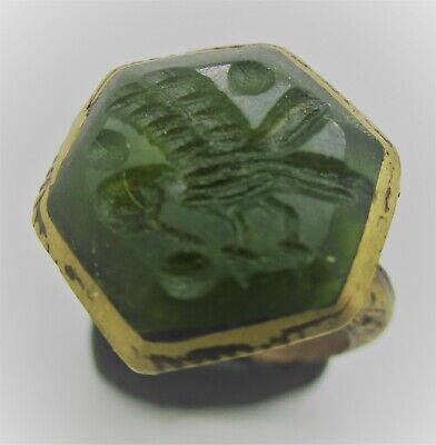 Beautiful Late Medieval Gold Gilded Ottomans Seal Ring With Agate Intaglio