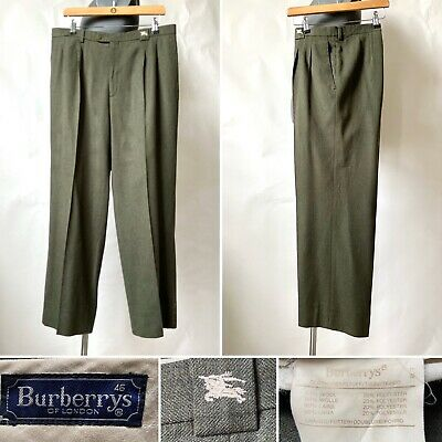 Vintage Burberry Mens Olive Green Wool Blend Trousers Wide Leg W34 L28