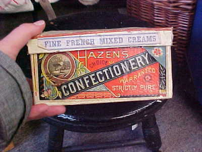 Antique Fine French Mixed Creams Hazens Confectionary Box Advertising Decorating