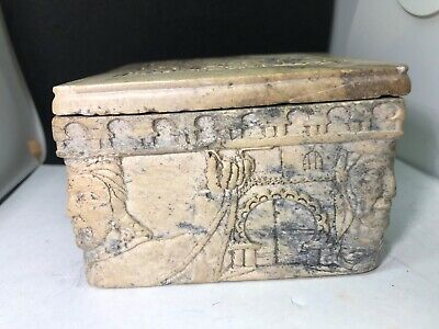 Antique Stone Jewelry Box Little Container Carved Face And Castle Snuff Box