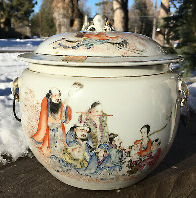Antique Chinese Famille Rose Lidded Container w/ Court Scene, Musician, Scholar