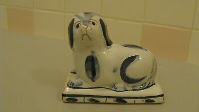 Staffordshire Style Clay Blue & White Spaniel Dog Figurine made in Portugal