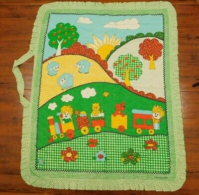 Vintage That's Our Baby Quilted Green Check Gingham Blanket Train & Animal Scene