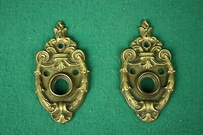 Vintage Antique Brass/Bronze Doorknob Plates Pair Art Nouveau Beautiful!