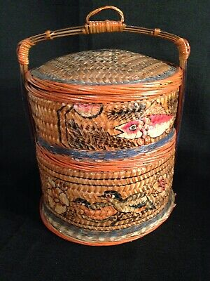 Antique Wicker Bridal/Wedding Basket China Handle 2 Tier Lid Painted Sewing 12""