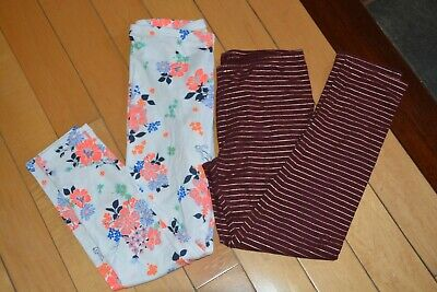 OLD Navy girl 2 pair soft  leggings white flowers maroon  L 10 12 YEARS
