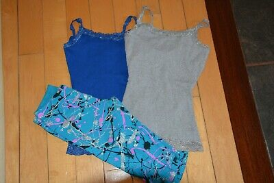 JUSTICE girl 3 LOT capri  leggings and sparkle blue gray lace tanks 10  YEARS