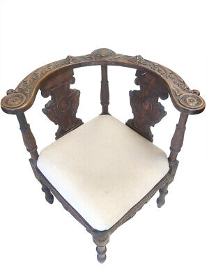 Antique Victorian Corner Armchair, Walnut, Carved, Circa 1870, PA5223