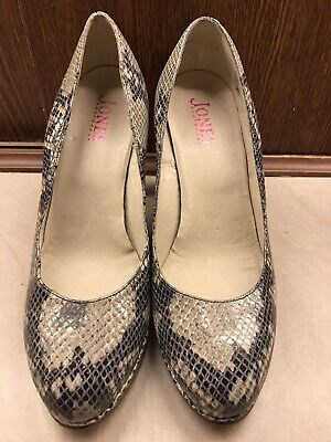 Clarks Womens Leather shoes Size 7 Court shoes Office Snake skin GABRIEL Black