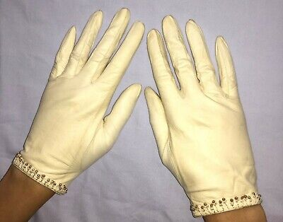 Vintage Lionel Le Grand Ivory Leather Gloves With Bead Trim 6 1/2