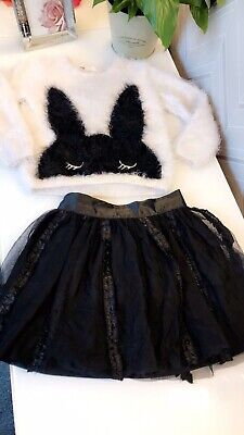 Girls H&M Rabbit Top Jumper & Skirt Outfit - Age 4-5