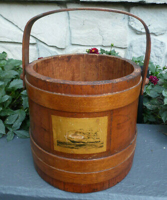 Wood Sewing Storage Bucket Basket Handle Tall Ship Vintage Wooden Staves Pegs