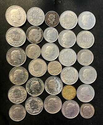 Old Switzerland Coin Lot - 1894-PRESENT - 30 Vintage Coins - Lot #F11