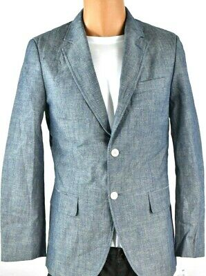 Tasso Elba Mens Sports Coat Jacket New S Gray Blue 2 Button Cotton Summer