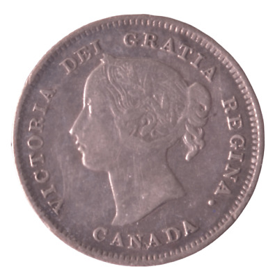 1897 Canada 5 Cents - Narrow 8 (F12) (Cleaned)