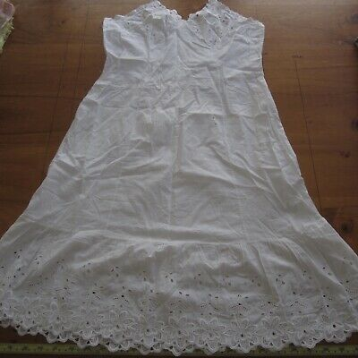 Vintage White Cotton Lace Full Slip Petticoat 1950s Make do mend alterations XS