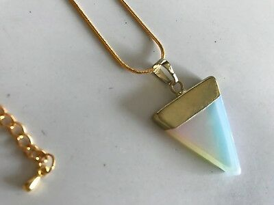 Gold Opalite Opal Crystal Quartz Healing Gemstone & Snake Chain Necklace Pendant