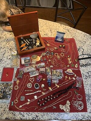My Grandmas Vintage Jewelry Box Junk Jewelry Lot, Comes With Everything Pictured