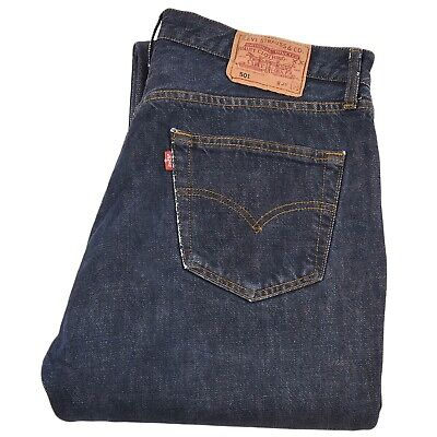 Levi's 501 Mens Classic Relaxed Tapered Jeans Size W36 L32 Dark Wash blue Denim