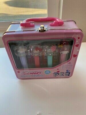 NEW Pez Hello Kitty & My Melody New Sealed Tin Lunch Box W/4 Dispensers. Sanrio