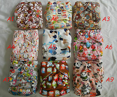 multi design One-size lovely Baby Re-usable soft cloth diaper nappy +one insert
