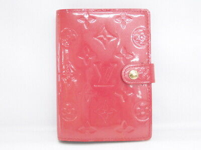 Auth LOUIS VUITTON Agenda PM Cover Day Planner Vernis Leather Pink 16160641200 G