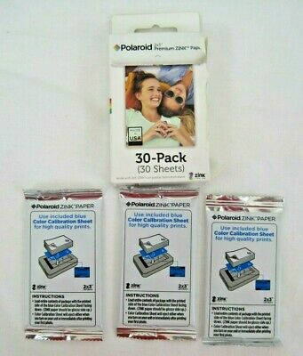 """Polaroid Film 2x3"""" Premium Zink Paper Box is open 3 pack of film sealed 30 count"""