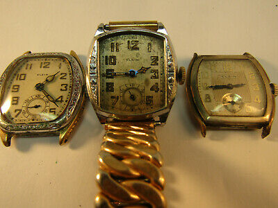 Three Unique Art Deco Elgin Watches From The 1920'S For Restoration Or Parts