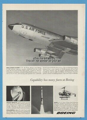 1962 Boeing C 135 USAF Stratolifter Minuteman ICBM US Navy Drone Helicopter Ad