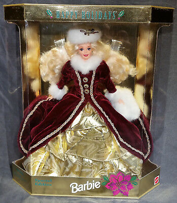 Mattel 1996 Happy Holidays Barbie With Red Jacket And Gold Dress - Rare Item!!