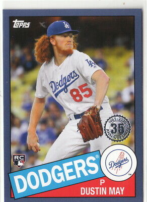 2020 Topps Series 1 1985 Insert Blue Parallel #57 Dustin May Dodgers