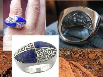 Genuine Sterling Silver Ring Size 5 FORBIDDEN CITY CHINESE symbols Lapis Lazuli