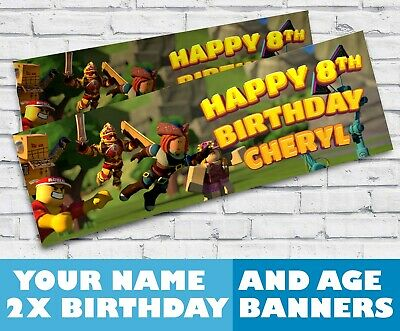 x2 Personalised Birthday Banner Roblox Children Kids Party Decoration Poster 9