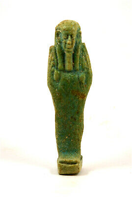 Egypt Late period 30th Dynasty blue-green glazed faience ushabti
