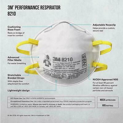 3M Particulate Respirator 8210, N95 Mask, NIOSH Approved