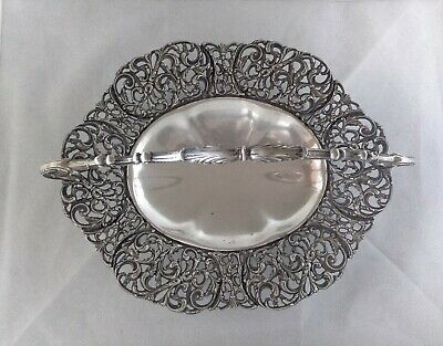 ANTICO CENTROTAVOLA ARGENTO 800 SOLID SILVER FRUIT CAKE BASKET CENTERPIECE 1940s